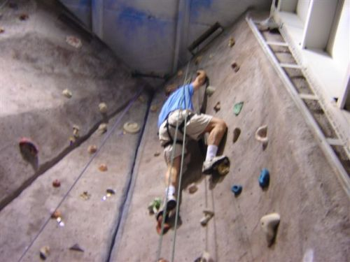Steve climbing THE WALL